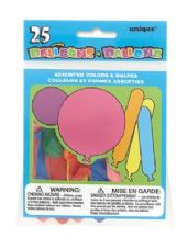 25 Assorted Shape & Size Balloons